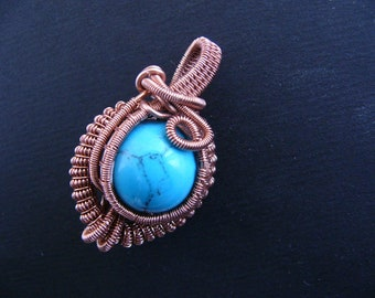 Necklace wire wrapped - necklace with turquoise - pendant for her - pendant wire wrapped - necklace handmade - wire wrapped