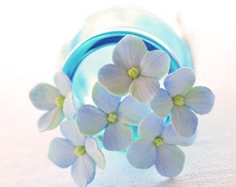 Made to Order - Light Blue Hydrangea Hair Flowers Set of 6