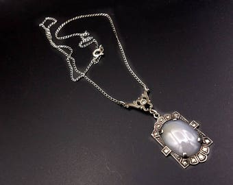 sterling marcasite cabochon teardrop round and silver medallion pendant gem price necklace pin black onyx