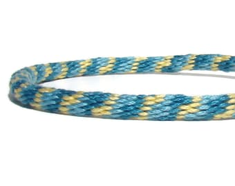 Aqua and yellow stripe friendship kumihimo bracelet with or without stainless steel magnetic clasp--your choice. Clasp sold separately.
