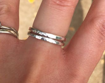 Sterling silver stacking rings with hammered texture, 2mm band, rustic, minimal, simple, everyday, valentines gift
