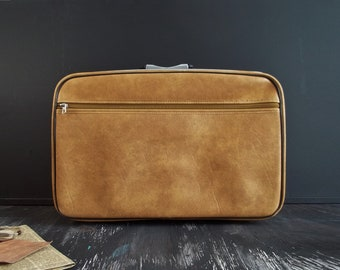 Vintage Luggage Brown Suitcase Faux Leather Train Case Big Organizer Travel Luggage Retro Briefcase Soft Cover Canadian Product Father's Day