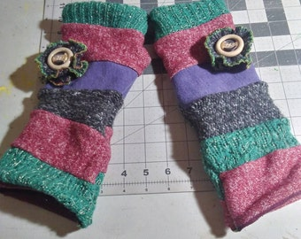 Upcycled Patchwork Arm Warmers- Green, Faded Red, Gray, Lavender- Flower Rosette-Soft Lining-Made to Order