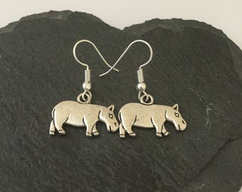 Hippo earrings / hippo jewellery / animal earrings / animal jewellery / animal lover gift