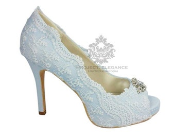 Emily - Crystal toe piece on Stunning Powder Blue satin & Lace Vintage Peep Toe Shoes - Any height, any colour
