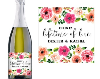 Wedding Champagne Label - Wedding Favor Ideas - Personalized Champagne Label - Wedding Champagne Bottle Label - Bridal Shower Champagne