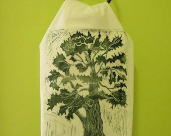 Eastern Cedar Linocut printed flour sack towels