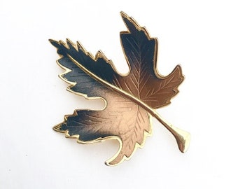 Vintage Maple Leaf Brooch Autumn Fall Forest Rustic Woodland Botany Botanical Ombre Enamel Jewelry