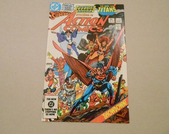 Action Comics #546; New Teen Titans; Superman; JLA; Vs Brainiac; Cyborg; Raven; Starfire; Beast Boy; Vs Brainiac; JLA Movie; High Grade!