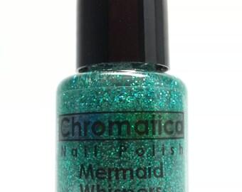 Mermaid Whispers-Handmade Blue-Green Glitter Topper/Overlay Nail Polish, 5ml Mini Bottle, Indie Polish
