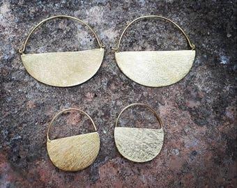 Big moon shaped earrings, gypsy earrings, boho earrings