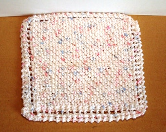 Hand Knit Dishcloth White FaceCloth Washcloth 100 per cent Cotton Yarn Spring Cleaning Cheery Handknit White Pink and Blue Flecks Neutral