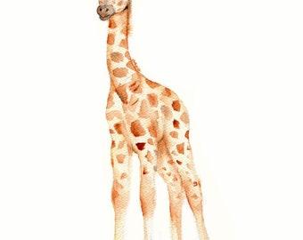 Giraffe art print, giraffe nursery decor,  African giraffe art, safari prints, giraffe wall art, baby gifts, baby giraffe