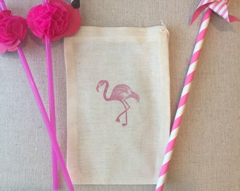 Flamingo party favor or hangover kit bags