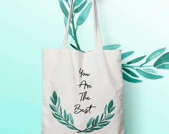 Cotton bag X439Y Tote bag you are the best, canvas bag, mother's day, changing bag, tote bag, shopping bag, shopping bag,.