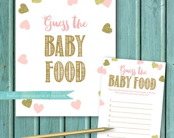 Guess the Baby Food . Pink and Gold Baby Shower Games Printable . Instant Download . Baby Shower Girl . Baby Food Game . Gold Glitter Hearts