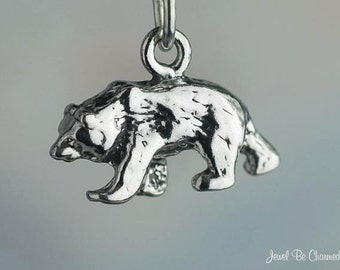 Sterling Silver Walking Bears Grizzly Bear Charm Nature 3D Solid .925