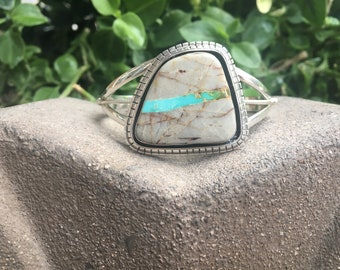Royston Turquoise Sterling Silver Cuff Bracelet, Royston Cuff Bracelet, Royston Sterling Silver Bracelet