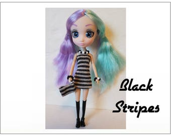 "Shibajuku Mini 6"" Doll Clothes - BLACK STRIPES Dress, Purse  and Jewelry - Handmade Fashion by dolls4emma"