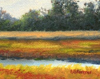 Autumn marsh original acrylic painting ACEO