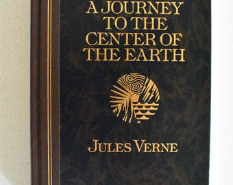 A Journey To the Center of the Earth by Jules Verne Illustrated Hardcover 1992 Vintage Woodblock illustrations