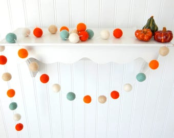 Crisp Autumn Air Garland, Autumn Garland, Mint Fall Garland, Fall Decoration, Thanksgiving Garland, Felt Ball Garland, Autumn Decor, Pumpkin
