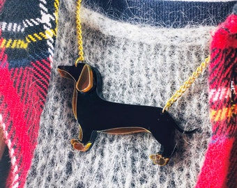 Sausage dog necklace, dog necklace, dachshund necklace, perspex necklace, plastic necklace, perspex jewellery, perspex jewelery