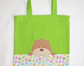 Bag tote bag, woodchuck, green cotton, kid bag