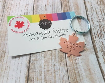 Canada 150 anniversary hand stamped copper maple leaf keychain made in Canada