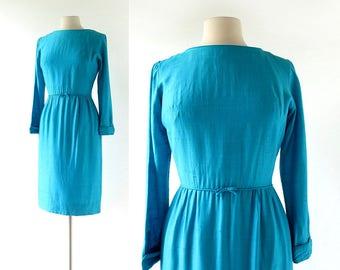 1950s Blue Dress | Glacial Lake | Turquoise Dress | 50s Dress | XS