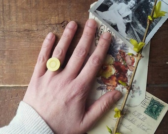 Yellow Cocktail Ring Made From a Vintage Button, Retro Statement Ring Made From a Vintage Button, Adjustable Ring Band,