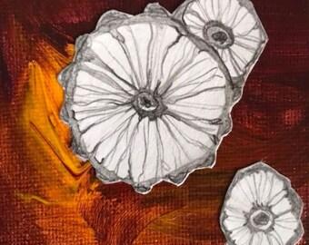 "original Flower Drawing - 3"" x 3"""