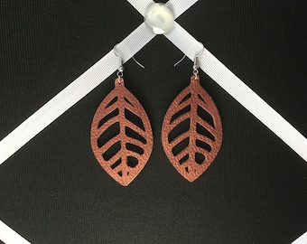 Faux Leather. Leaf Earrings