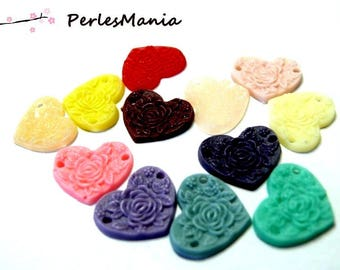 12 connector mulit color ref FR0563 15x13x1.5mm heart resin cabochons