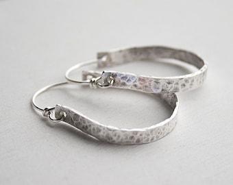 Sterling Silver Hoop Earrings - Medium Silver Hoop Earrings - Graduation Gift For Her - Hammered Hoops - Oxidized Silver Hoop Earrings
