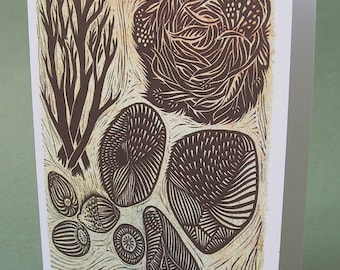 5 x 7 Notecard - A022 GATHERING // nature card / nature print / linocut card / collection / acorn art / autumn art / shell / branch / nest