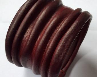 Bangle Leather Cuffs Marsala