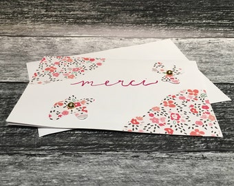 Floral Merci Thank You Card