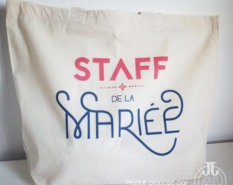 "Cotton Tote Bag XL wedding ""Staff of the bride"""
