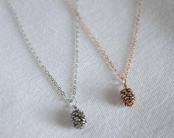 Pine cone necklace , necklace, pine cone pendant ,  bridesmaid gift, gift necklace, pine cone charm necklace