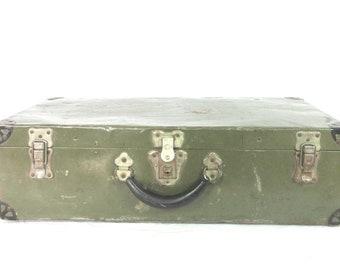 Vintage Metal Trunk Shwayder Bros. Samson Luggage Paper Lined Brass