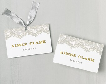 Printable Place Card Template | INSTANT DOWNLOAD | Lace Escort Card | Editable Colors | Mac or PC | Word & Pages | Flat or Folded