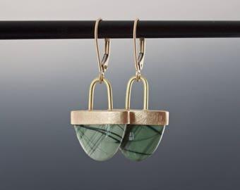 Gold Jasper Earrings - Green Arch Cabochon Dangles - Patterned Gemstone Bezel Set Drop Earrings - One of a Kind