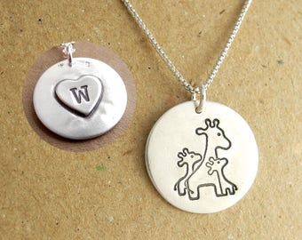 Giraffe Necklace, Personalized Mother and Twins, New Mom, Two Children, Heart Monogram, Fine Silver, Sterling Silver Chain, Made To Order