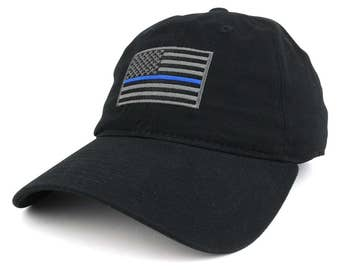 Thin Blue Line Embroidered USA Flag Soft Fit Washed Cotton Baseball Cap (A03-TBL)