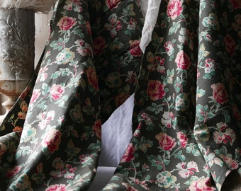Antique French Curtains Vintage Textile  Floral Fabric Panels Green Pink Cotton Chintz Furnishings - Interior Decor