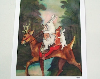 The Ride Home -  Fine Art Rabbit  - Large Size