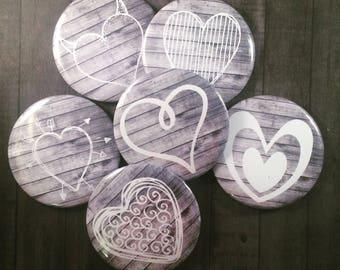Set of 6 Heart Magnets, Locker Magnets, Fridge Magnets, Kitchen Refrigerator Magnets, Valentine's Day Gift, Wedding Gift