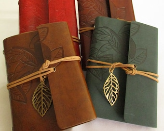 Leather planners with decoration, engraved leaves, leather notebook
