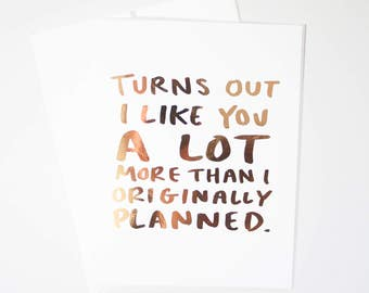 Funny Vday Card / Valentines Day Card / V-day Greeting Card / Real Rose Gold Foil / Funny Love Card / Funny Valentines Day Cards / Real Foil